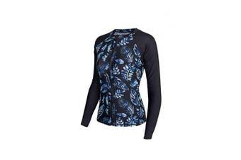 (10, Black & Blue) - ALLEZ Women's One Piece Rash Guard with Leaves Pattern Front Zip Swimsuits Monokini Bathing Suits UPF 50+