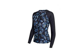 (16, Black & Blue) - ALLEZ Women's One Piece Rash Guard with Leaves Pattern Front Zip Swimsuits Monokini Bathing Suits UPF 50+
