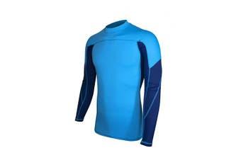(Large, Light Blue & Navy) - ALLEZ Men's Long Sleeve Rash Guard Dual Tone Athletic Design Tops Swimwear UPF 50+ Sun Protection Swim Shirts