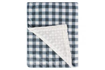 (Plaid Blue/Grey) - Super Soft Minky Baby Blanket, with Double Layer Dotted Backing, Plush Receiving Blanket for Boys, Girls, Newborns, Toddlers, Nursery, Bedding (Plaid Blue/Grey, 80cm x 100cm )