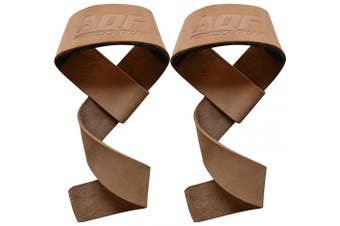 (Brown) - AQF Weight Lifting Gym Straps Padded Crossfit Wrist Support Wraps Hand Bar Bodybuilding Training Workout Multi Colour