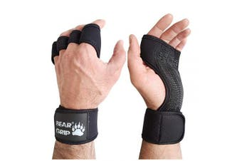 (Black, S) - BEAR GRIP - Open Workout Gloves for Crossfit, Bodybuilding, callisthenics, Powerlifting