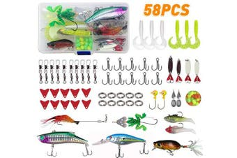 (58pcs Lures Kit) - JSHANMEI Fishing Lures Set for Bass Trout Salmon, Including Spinnerbait, Spoon Lures, Soft Plastic Worms, Crankbait, Jigs, Topwater Lures Fishing Tackle Box Kit
