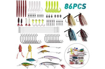(86pcs Lures Kit) - JSHANMEI Fishing Lures Set for Bass Trout Salmon, Including Spinnerbait, Spoon Lures, Soft Plastic Worms, Crankbait, Jigs, Topwater Lures Fishing Tackle Box Kit