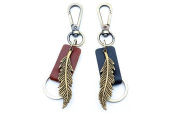 (Brown) - AuPra Angel Feather KeyRing Gift | Women & Men Brown Leather New Home Strong Vintage KeyChain | Mum & Dad Novelty Friendship Charm Key Ring Present | Girl & Boy Cute Best Friend Mini Pendant