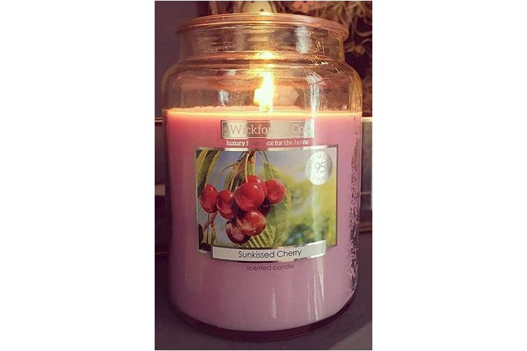 """(Sunkissed Cherry) - Scented Candle - 530ml Jar with lid - Sunkissed Cherry - up to 95 Hour Burn Time – """"Supplied in Gift Box""""."""