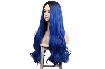 (Dark Root Blue) - ColorGround Long Wavy Dark Root Blue Wig for Women (Dark Root Blue)