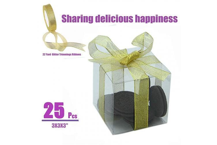 """(3x3x3"""") - SUPFAN 25Pcs PET transparent box, transparent plastic candy gift box thick PVC scratch-resistant transparent gift box for Thanksgiving, Christmas, wedding, party, cake, a roll of golden ribbon(3x3x3)"""