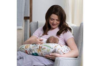 (Multi) - Boppy Original Nursing Pillow & Positioner, Neutral Jungle Colours, Cotton Blend Fabric with Allover Fashion, Multi