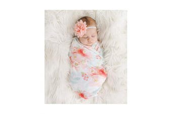 Giggle Angel Baby Receiving Blanket Swaddle Blanket Newborn Wrap Swaddle Headband Set -Bloom Flower Pattern
