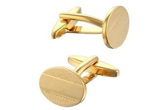 Code Red Men's Gold Plated Oval Cufflinks with Engraved Pattern