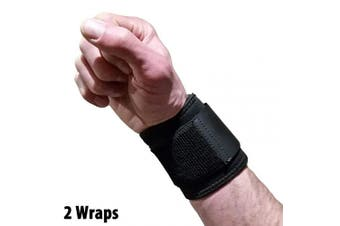 Wrist Wraps for Wrist Support - Wrist Compression for Tendonitis, Arthritis & Carpal Tunnel Relief. Great Alternative to a Bulky Wrist Brace or Wrist Splint. Fits Left or Right Hands (2 Wraps)
