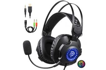 (Cycling RGB Headset) - EasySMX Comfortable LED 3.5mm Stereo Gaming LED Lighting Over-Ear Headphone Headset Headband with Mic for PC Computer Game with Noise Cancelling & Volume Control [2019 Newest] (Cycling RGB Headset)