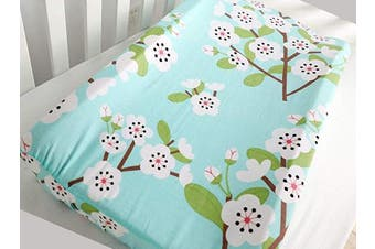 (Green Floral) - Baby Girl's 100% Cotton Crib Bedding Changing Pad Cover (Green Floral)