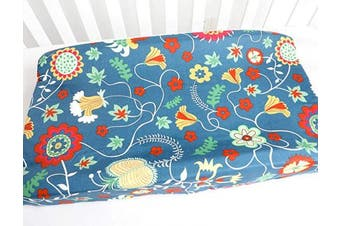 (Blue Floral) - Baby Boy Girl's 100% Cotton Crib Bedding Changing Pad Cover (Blue Floral)