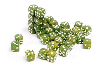 ADC Blackfire Entertainment 91722 D6 Cube Dice Set, Marbled Pearlized Green, 36 x 12 mm