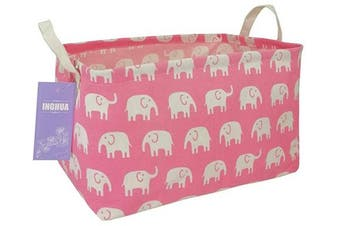 (elephant) - INGHUA Rectangular Storage Basket Fabric Organiser Bin for Toys,Books,Clothes,Gifts,Pets-Perfect for Home,Office,Nursery,Dorm,Shelf(Elephant)