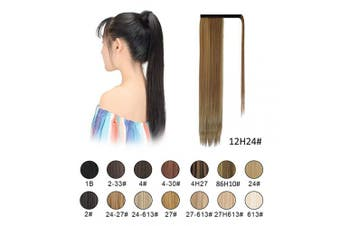 (12H24 Brown & Blonde) - BARSDAR Ponytail Extension 70cm Long Straight Wrap Around Hair Piece for Women Synthetic Hair for Daily Use(12H24 Brown & Blonde)
