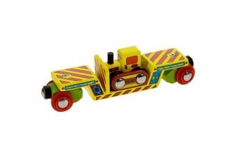 Bigjigs Single Wooden Train Rolling Stock (Bulldozer Low Loader)