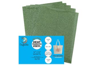 (5 Sheets, Lime) - Craftables Lime Glitter Heat Transfer Vinyl, HTV - 5 Sheets Sparkling Easy to Weed Tshirt Iron on Vinyl for Silhouette Cameo, Cricut, All Craft Cutters. Ships Flat, Guaranteed Size