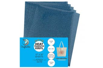 (5 Sheets, Blue) - Craftables Blue Glitter Heat Transfer Vinyl, HTV - 5 Sheets Sparkling Easy to Weed Tshirt Iron on Vinyl for Silhouette Cameo, Cricut, All Craft Cutters. Ships Flat, Guaranteed Size