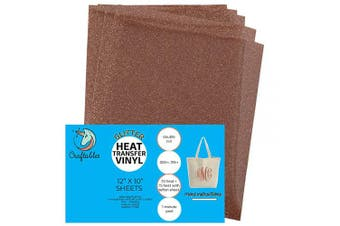 (5 Sheets, Copper) - Craftables Copper Glitter Heat Transfer Vinyl, HTV - 5 Sheets Sparkling Easy to Weed Tshirt Iron on Vinyl for Silhouette Cameo, Cricut, All Craft Cutters. Ships Flat, Guaranteed Size