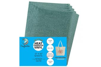 (5 Sheets, Seafoam) - Craftables Seafoam Glitter Heat Transfer Vinyl, HTV - 5 Sheets Sparkling Easy to Weed Tshirt Iron on Vinyl for Silhouette Cameo, Cricut, All Craft Cutters. Ships Flat, Guaranteed Size