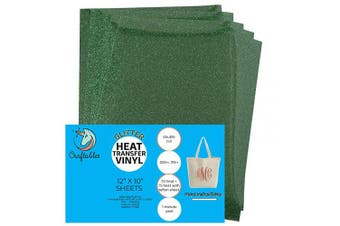 (5 Sheets, Green) - Craftables Green Glitter Heat Transfer Vinyl, HTV - 5 Sheets Sparkling Easy to Weed Tshirt Iron on Vinyl for Silhouette Cameo, Cricut, All Craft Cutters. Ships Flat, Guaranteed Size