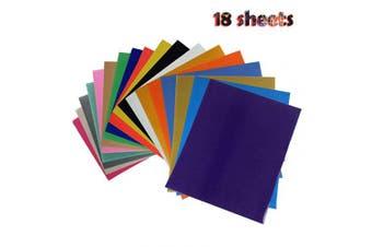 (30cm ×25cm , 18 Colors) - Bright PU Heat Transfer Vinyl for DIY Clothing,Shirts,Bags,Hats,Socks (18 Colours, 30cm ×25cm )
