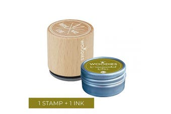 Woodies Baked with Love Stamp with Ornamental Olive Ink Pad Set/Baked with Love Wooden Rubber Stamp and Ink Pad for DIY Crafts and Home Businesses