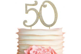 (50 Gold) - Premium Metal Number 50 Birthday Gold Rhinestone Gem Cake Topper. 50th Bday or Anniversary Party Keepsake and Decoration. Sparkling, Crystal and Diamond Style Bling Is a Great Centrepiece. (50th Gold)