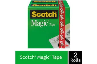 (2 Rolls) - Scotch Brand Magic Tape, Invisible, Cuts Cleanly, Engineered for Office and Home Use, 1.3cm x 3290cm , Boxed, 2 Rolls (810H2)