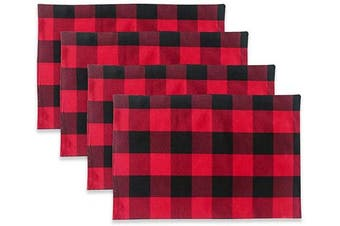 (Placemats 30cm  x 46cm , Plaids Red&black) - NATUS WEAVER Red Black 2 Side Buffalo Cheque Placemats Set of 4 Heat Resistant Dining Table Place Mats for Kitchen Table, 30cm x 46cm