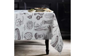 (Rectangle/Oblong, 140cm  x 260cm , White) - ColorBird Fresh Vegetables Print Cotton Linen Tablecloth Rustic Garden Natural Harvest Decorative Table Cover for Kitchen Dining Spring Summer Picnic Use, Rectangle/Oblong, 140cm x 260cm