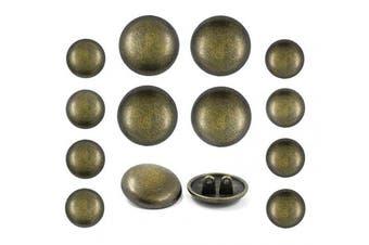 Bezelry Professional Double Shank Antique Brass Metal Blazer Button Set. 6 Pcs of 23mm, 8 Pcs of 15mm
