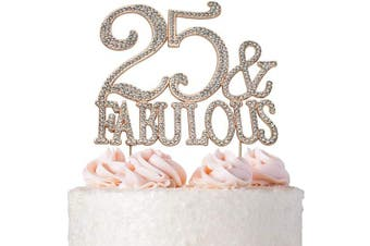 (25&Fab Rose) - Premium Metal 25 and Fabulous Rose Gold Rhinestone Gem Cake Topper. Perfect 25th Birthday Party Keepsake and Decoration. Sparkling, Crystal and Diamond Style Bling Makes a Great Centrepiece. 25 & Fab RG