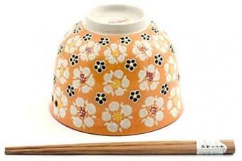 (Orange Floral) - Quality Japanese Ramen Udon Noodle Bowl with Chopsticks Gift Set 13cm Diameter (Orange Floral)