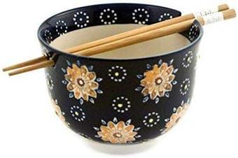 (Flower Stamp) - Quality Japanese Ramen Udon Noodle Bowl with Chopsticks Gift Set 13cm Diameter (Flower Stamp)