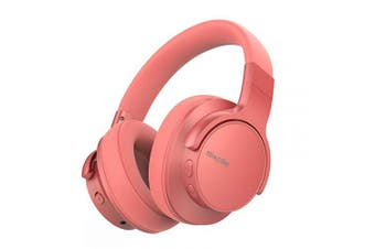 (Coral Orange) - Mixcder E7 [2019 Upgrade] ANC Noise Cancelling Headphones Bluetooth 5.0 Over Ear Headphone with Hi-Fi Stereo, Quick Charge, 30 Hours Playtime for Travel Work TV PC Cellphone - Orange