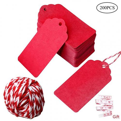 nuoshen 200 Pcs Gift Tags, Kraft Paper Tags Rectangle Craft Hang Tags DIY Price Tags Parcel Tags for Holiday with String Specifications:Colour:Red.Material:Made of high quality paper Red.Mate:Tag size 4.5*9cm string length 10 Red.Mattures:Red.Mat jute twine is 10 metres long,durable and multi-purpose for DIY Red.Matat as wedding favour tags, gift tags or other place name cards,They are stunning wedding favour that you will be proud to present to your Red.Mat vintage tags are perfect for clothing tags, price tags, gift tags,mason jar tags, Christmas gift tags, festival gift cardPackage includes:200 piece gift tags and 20 metres jute twine Red.Mate: Our products contain small gifts, if you have not received them, you may have purchased other sellers' counterfeit.
