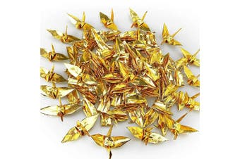 (Gold) - Cieovo 100 PCS Pearlescent Gold Origami Paper Crane, Folded DIY Japanese Crane Mobile String Garland for Wedding Party Backdrop Home Decoration