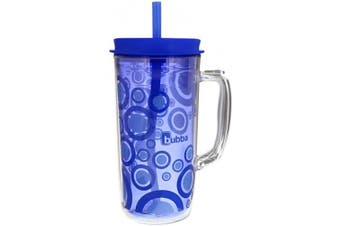 (1420ml, Blue) - Bubba Envy Travel Thermal Mug, 1420mls - Double Wall Insulated with Straw - Keep All Your Favourite Cold Drinks at Your Side - Sweat Resistant, Ideal For Travel - Serenity with Blue Bubbles Graphic