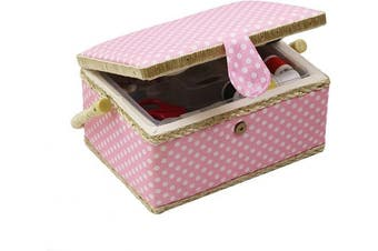 (Medium - 9.5 x 18cm  x 13cm , Pink Polka Dots) - Medium Sewing Basket with Accessories, Wooden Sewing Box Organiser Box for Sewing Supplies Storage, DIY Sewing Kit Tools for Sewing Mending, Pink Polka Dots