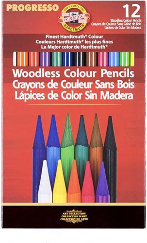 Koh-I-Noor Progresso Woodless Colored 12-Pencil Set FA8756.12 Assorted Colored Pencils