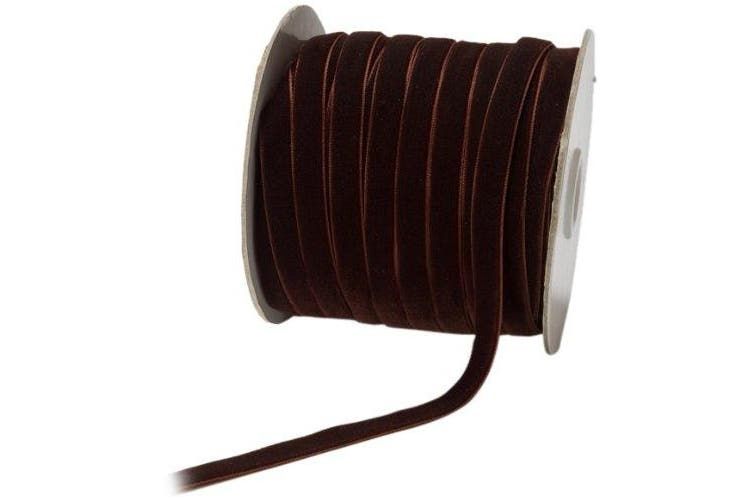 May Arts 1cm Wide Ribbon, Brown Velvet