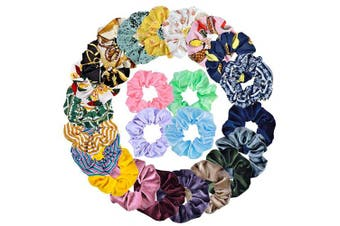 24pcs Hair Scrunchies,Cehomi Chiffon & Satin & Velvet Elastic Hair Bands Scrunchie Hair Ties Ropes for Women and Laides