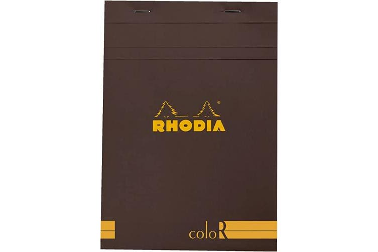 (6 x 8 1/4 Lined, Chocolate) - Rhodia A5 Colour Head Stapled Pad No16, Lined - Chocolate
