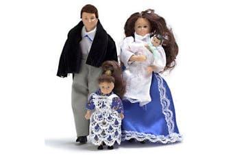 Dollhouse Miniature Victorian Doll Family Brunette
