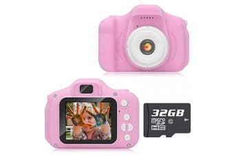(Advanced-pink) - Hachi's Choice Gift Kids Camera Toys for 3-9 Year Old Girls, Compact Cameras for Children,Best Birthday Festival Gift for 4-8 Year Old Girl,Pink(32G SD Card Included)