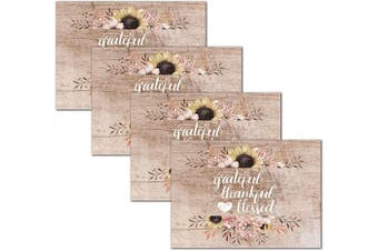 (Thankful Wood) - Blissful Living Set of 4 Placemats, Stain Resistant - Decorate Your Kitchen Table with Our Beautiful Rectangle pad placemat (Thankful Wood)